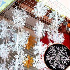 30Pcs Weihnachten Party Schneeflocke verziert Charms Baum Deko Christbaumschmuck