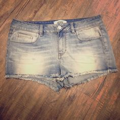 Pink Denim Shorts Worn a few times no rips or tears PINK Victoria's Secret Shorts Jean Shorts