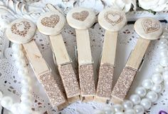 Cottage Chic Heart ClothesPins a touch of Gold Glitz.  Etsy.