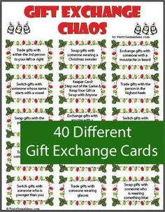 Exchange Chaos - Printable Holiday Party Game Gift Exchange game includes a variety of gift exchange cards and blank cards too. Look like fun.Gift Exchange game includes a variety of gift exchange cards and blank cards too. Look like fun. Christmas Gift Exchange Games, Xmas Games, Holiday Games, Holiday Parties, Holiday Fun, Christmas Holidays, Office Christmas Party Games, Christmas Family Games, Christmas Party Games For Adults