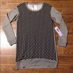 NWT Wilt sweater tunic/dress X small Wilt sweater tunic or dress, perfect with leggings.  Polka dot front, sleeves and back has a thin stripe design.  Raw bottom hem, cuffed long sleeves.  Purchased from small, local boutique. Wilt Sweaters Crew & Scoop Necks
