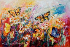 Monarch Butterflies and Chamomile Flowers Impressionist Original Oil Painting by Ginette Callaway , Original Painting - Ginette Fine Art, The Art of Ginette Callaway  - 7