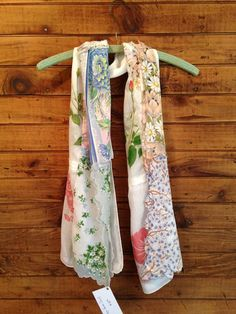 Gorgeous colour combination in this scarf made from vintage handkerchiefs