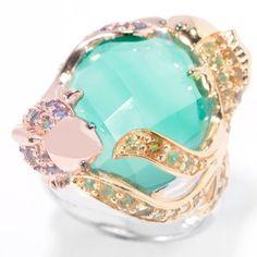 Gem Treasures® Dyed Green Agate Quartz Doublet & Multi Gemstone Koi Fish Ring