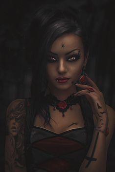f Warlock Leather Armor Necklace portrait ArtStation Black Widow by Andrej Art' lg Black Vampire, Female Vampire, Vampire Art, Gothic Fantasy Art, Fantasy Art Women, Fantasy Girl, Character Portraits, Character Art, Evvi Art
