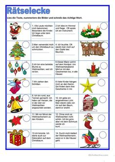 Rätselecke - Weihnachten Arbeitsblatt - Kostenlose DAF Arbeitsblätter The Effective Pictures We Offer You About funny Riddles A quality picture can tell you many things. Christmas Riddles, Christmas Worksheets, Christmas Puzzle, German Christmas, Christmas Games, Christmas Printables, Xmas, Christmas Christmas, Vintage Christmas