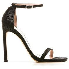 Stuart Weitzman The Nudist Sandal Pump ($415) ❤ liked on Polyvore featuring shoes, sandals, stuart weitzman, stiletto sandals, stuart weitzman shoes, high heel sandals, heels stilettos and ankle strap sandals