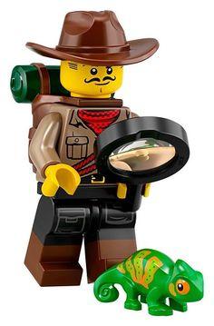 LEGO Minifigures Series 19 Jungle Explorer Minifigure with Chameleon 71025 Minifigura Lego, Buy Lego, Lego Minecraft, Lego Zombies, Lego Marvel, Lego Batman, German Toys, Lego Videos, Lego Minifigs