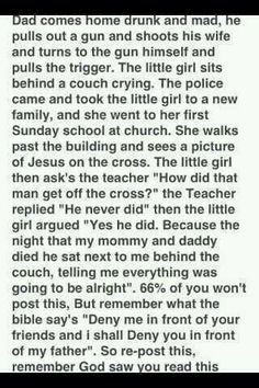 i dont usally post stuff that pressures u to do something to make u feel bad or scare u, but this is a beatiful yet sad story that made me happy to know God and Jesus r there when u need them; my dad is Buddhist but ik god and Jesus are real The Words, We Are The World, In This World, Gods Love, My Love, All Meme, Gods Not Dead, Sad Stories, Awesome Stories