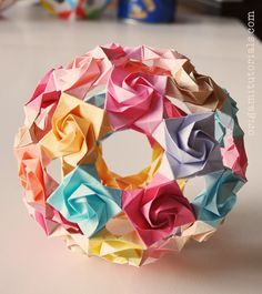 Rose Auditorium - A Rose Kusudama Tutorial – Origami Tutorials Origami Rose, Origami Diy, Origami Star Box, Origami And Kirigami, Origami Ball, Origami Paper Art, Origami Folding, Origami Design, Origami Stars