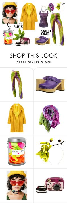 """""""Wild One"""" by tammyrog ❤ liked on Polyvore featuring Versace, Swedish Hasbeens, Raey, Emi Jay, Crown and Glory and Betsey Johnson"""