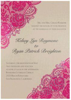 Diamond Lace Roses Glitter Wedding Invitation by David's Bridal #pinkeweddings