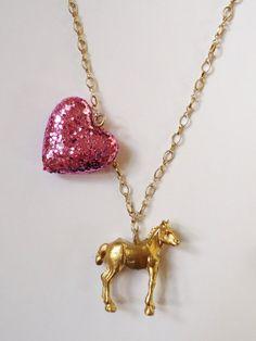 Golden Sparkly Pink Horse!