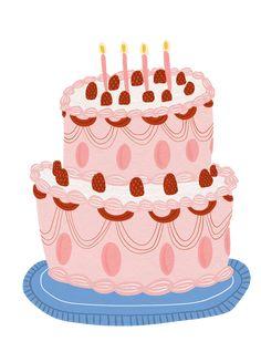 Cake Illustration, Illustration Styles, Cake Branding, Cake Roll Recipes, Victoria Sponge Cake, Food Sketch, Easy Cake Decorating, Cute Desserts, Cute Cakes