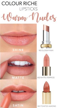 "How to wear a warm nude tone lip color in your favorite finish - Colour Riche Shine in 900 ""Glossy Fawn"" for a high-shine, moisturizing finish; Colour Riche Matte in 802 ""Matte-sterpiece"" for a creamy matte finish; and Colour Riche Original in 843 ""Toasted Almond"" for a comfortable, satin finish."