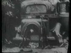 """A 16mm film shot by posse member Ted Hinton just minutes after Bonnie and Clyde were fatally ambushed by officers near Gibsland, Louisiana, on May 23, 1934. The so-called """"Death Car"""" was released to its owner, Ruth Warren of Topeka, Kansas, only after she filed a lawsuit against the sheriff."""