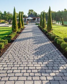 Refine your front house landscaping with Villagio pavers Front House Landscaping, Driveway Landscaping, Backyard Patio Designs, Walkway Designs, Backyard Ideas, Landscape Pavers, House Landscape, Landscape Design, Rustic Outdoor Spaces