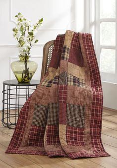 Burgundy Plaid Patchwork Quilted Throw Blanket Olivias Heartland Rutherford