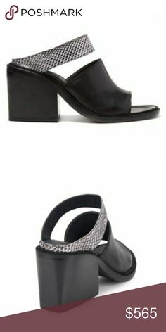 """COMING SOON! Helmut Lang Snake Mules Exotic snake-embossed pair with chic chunky heel, Stacked heel, 3.25"""" (80mm), Leather upper, Open toe, Leather lining and sole, Lightly padded insole, Includes dust cover, Made in Italy, ; BLACK - WHITE Helmut Lang Shoes Mules & Clogs"""