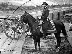 General William T. Sherman on horseback at Federal Fort No. 7 near Atlanta, GA