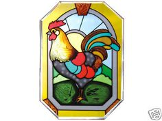 """""""Stained Art Glass ROOSTER Suncatcher"""" This colorful rooster will bring charm and good cheer to your breakfast nook or kitchen window! This hand-painted zinc-framed art glass panel features a pre-atta"""