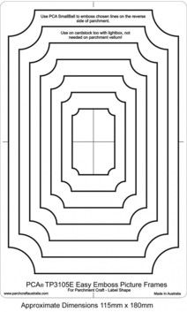 PCA EASY EMBOSSING TEMPLATE 3105E - RECTANGLE PICTURE FRAMES  PCA Easy Embossing Template Rectangle Picture Frames. Using PCA small ball tool to emboss simply place the parchment over the templates and follow the frame lines. PCA recommend lubricating the parchment with a tumble dryer sheet before embossing.
