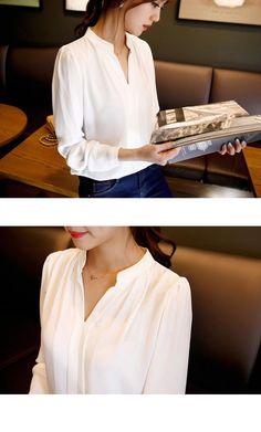 2015 otoño gasa de las mujeres blusa para mujer del color del caramelo elegante v cuello blusas de manga larga camisa de la gasa mujeres camisa de la oficina más el tamaño en Blusas y Camisas de Moda y Complementos Mujer en AliExpress.com   Alibaba Group