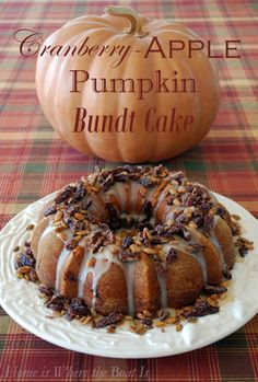 Cranberry-Apple-Pumpkin Bundt Cake, recipe courtesy of Southern Living