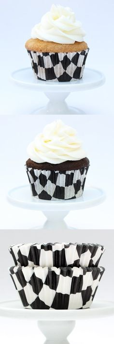 Checkered Black Greaseproof Cupcake Liners Cupcake Liners, Baking Cups, Cereal, Breakfast, Black, Food, Morning Coffee, Black People, Eten