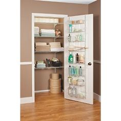 Need to do for my linen closet. ClosetMaid Adjustable Door Rack at Target - good for kitchen pantry space, linen closet door and bedroom closet doors. Linen Closet Organization, Bathroom Organization, Organize A Linen Closet, Organization Ideas, Bathroom Ideas, Small Linen Closets, Door Rack, Small Toilet, Storage Sets