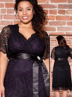 Retro Glam Dress in Black Lace Purple Lining- possible bridesmaid dress plus size:could change the color inside to match the colour theme of the wedding?
