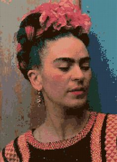 Frida Kahlo Bougainvillea Cross Stitch Portrait PDF - EASY chart with one color per sheet And traditional chart! Two charts in one! by HeritageChart on Etsy