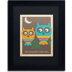 Trademark Fine Art Rainbow Owls Canvas Art by Anderson Design Group, Black Matte/Black Frame/Archival Paper, Size: 16 x 20, Multicolor