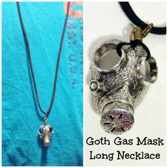 GOTH GAS MASK Prepper Jewelry Necklace on by StrangeKarmaPerfume