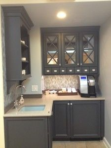 We love the blue and gray color scheme!  Perfect for a transitional style kitchen, and grey cabinets are so popular right now!