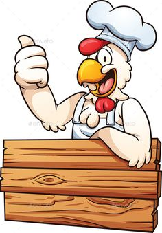 Cartoon chicken chef with a wooden sign. Vector clip art illustration with simple gradients. All in a single layer. EPS10 file inc