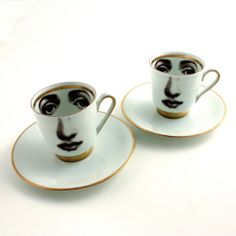 2 Altered Face on Vintage Espresso Coffee Cups Human with Saucer Porcelain Gold Trim White Brown Romantic Whimsical