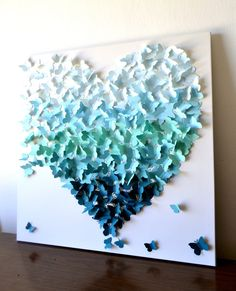3D Butterfly Heart Wall Art in Aqua-Teal Ombre by Ron&Noy -LIMITED EDITION- Modern Statement Art for Home Wedding Gift Anniversary Nursery