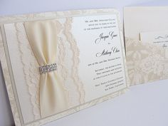 Lace Wedding Invitations Lace Wedding Invite by LavenderPaperie1