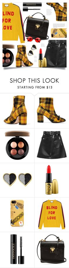 """""""Perfect as You in a Plaid Shoe"""" by ames-ym ❤ liked on Polyvore featuring N°21, MAC Cosmetics, Maje, Moschino, Gucci, Lancôme, Mark Cross, contestentry, plaidshoes and GUCCISWEATER"""