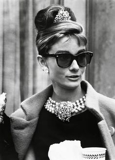 Statement Necklace, Black Dress and Big Sun Glasses... I ADORE this Look #Audrey Hepburn