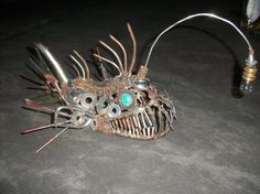 Metal Art  Angler Fish Sculpture by ContrivedCuriosities on Etsy