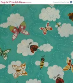 ON SALE NOW - Animal Treats by Hoffman of Ca,Int Fabrics,By the Yard,44/45 inches Wide,Butterflies Ladybugs bumble bees White clouds on an A