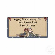 Raggedy Hearts Address Label - coordinates with matching business card
