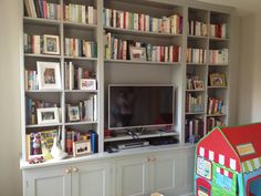Family room book shelving
