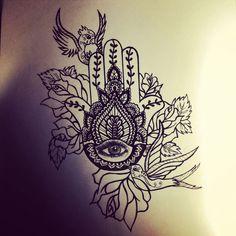 ... Tattoos on Pinterest | Cat tattoos, Watercolor tattoos and Tattoos and  Hamsa Hand Tattoo Thigh