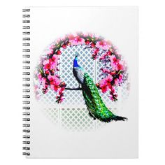 http://www.zazzle.com.au/peacock_cherry_blossoms_and_lattice-130242119822469688?rf=238523064604734277 Peacock Cherry Blossoms And Lattice - This note book features a peacock perching on a cherry blossom branch in front of a lattice wall.