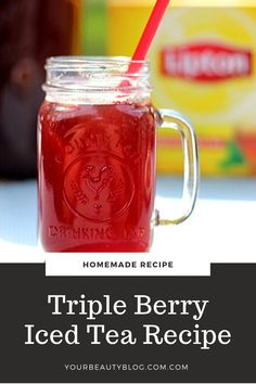 How to make triple berry iced tea. Used mixed berries or raspberry, blackberry, strawberry, or blueberry for this homemade recipe. I recommend making iced tea with Lipton tea bags, or use your favorite. Make this a sweet home made iced tea or omit the sugar for unsweetened. #icedtea #berry #tripleberry #mixedberry Blackberry, Raspberry, Strawberry, Lipton Tea Bags, Making Iced Tea, Iced Tea Recipes, Homemade Recipe, Mixed Berries, Yummy Drinks