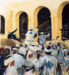 The death of General Gordon in Khartoum, by Graham Coton.   Agha Khalil Orphali, had been firing at the enemy. Orphali was knocked unconscious and did not see Gordon die. When he woke up again that afternoon, he found Gordon's body covered with flies and the head cut off.
