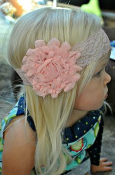 Lace Baby Headband Peach Lace Headband Chiffon by mysweetbee, $10.00